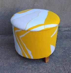 Sypuff/pall omklädd med nytt tyg